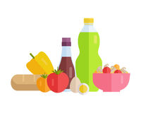 Food Concept Illustration in Flat Style Design. Stock Photos