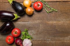 Layout with various vegetables and copy space for text stock photo