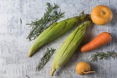 Layout with various vegetables and copy space for text stock photos