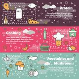 Food concept vector flat line art banner set. Vector set of food horizontal banners with Protein, Cooking, Vegetables and mushrooms line art flat style design Royalty Free Stock Photo