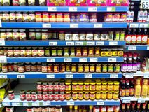 Food condiments and flavoring products sold in a grocery store Stock Photos