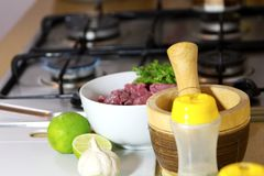 Food condiments and bowl with meat at a kitchen royalty free stock photos