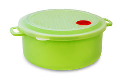 Food container. Green plastic locking food container isolated on white Stock Photography