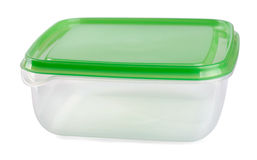 Food container. Empty food plastic container with green lid isolated on white Stock Image