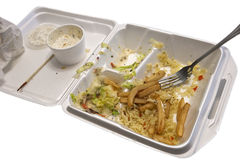 Food container. Picture of food container with partial lunch on it royalty free stock photography