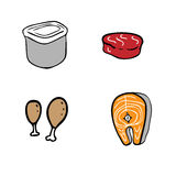 Food and container. Cartoon vector Stock Images