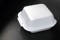 Food container. Close-up food container on the black background Stock Photo