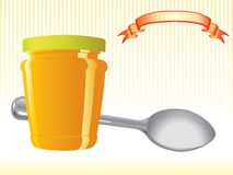 Food container and spoon Stock Photo
