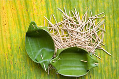 Food containers. That are made from banana leaf wood skewer sharp Stock Image