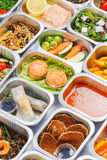 Food in the containers royalty free stock photos