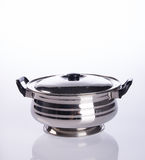 food containers or stainless steel food containers on a backgrou Royalty Free Stock Photo