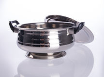 food containers or stainless steel food containers on a backgrou Royalty Free Stock Images