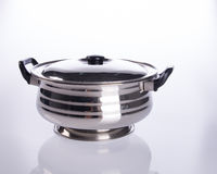 food containers or stainless steel food containers on a backgrou Stock Images