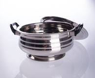 food containers or stainless steel food containers on a backgrou Royalty Free Stock Image