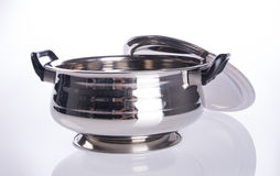 food containers or stainless steel food containers on a backgrou Royalty Free Stock Photos