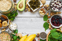 Food containing magnesium and potassium. Healthy food. Top view with copy space Royalty Free Stock Image