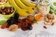 Food containing potassium Stock Images