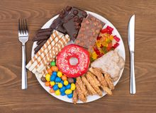 Food containing too much sugar on a plate. Top view. Sugar in diet causes obesity, diabetes and other health problems royalty free stock images