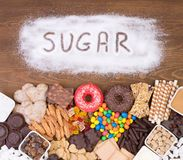 Food containing too much sugar. Sugar in diet causes obesity, diabetes and other health problems stock images
