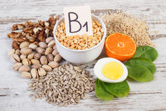 Food containing vitamin B1 and dietary fiber, concept of healthy nutrition Royalty Free Stock Images
