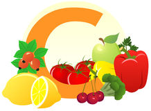 Food containing vitamin C. The food containing vitamin C Royalty Free Stock Image