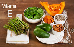 Food containing vitamin E on  wooden table. Stock Image