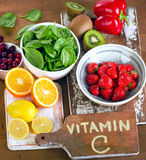 Food containing vitamin A. Royalty Free Stock Photo