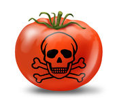 Food contamination. Symbol represented by a tomato with a  a skull and bones graphic Stock Photo