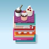Food Cook Books Idea Cupcake Concept Design. Vector Illustration Stock Image