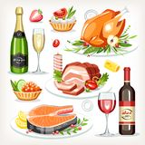 Food cooked dishes festive holiday celebration set collection. Chicken salmon meat cold-boiled pork champagne wine tartlet stock illustration