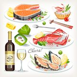 Food cooked dishes festive holiday celebration set collection. Salmon seafood lobster oysters wine zongzi roll stock illustration