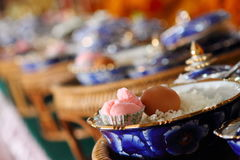 Food and cooked rice and desserts in ceramic bowl Stock Photos
