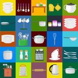 Food and cooking banner set with kitchenware utensils, Kitchen set of tools for cook or cooking meals. Vector Stock Photography