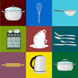 Food and cooking banner set with kitchenware utensils, Kitchen set of tools for cook or cooking meals. Vector Stock Photo