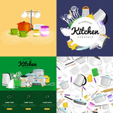 Food and cooking banner set with kitchenware utensils, Kitchen set of tools for cook or cooking meals. Vector Stock Photos