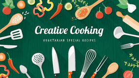 Food and cooking banner. Vegetarian and vegan food recipes banner with kitchenware, utensils and chopped vegetables, copyspace at center Royalty Free Stock Images