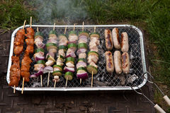 Food cooking on barbecue Royalty Free Stock Photo