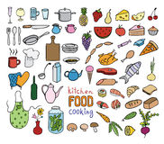Food and cooking color icons collection. On white stock illustration