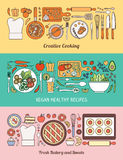 Food, cooking and healthy eating banner set Royalty Free Stock Photo