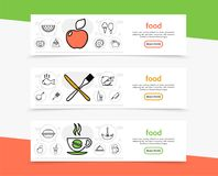 Food And Cooking Horizontal Banners. With kitchen utensil fruits chicken beverages fish sausage pretzel ice cream in line style vector illustration Royalty Free Stock Image