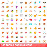 100 food and cooking icons set, cartoon style Royalty Free Stock Images