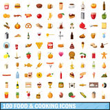 100 food and cooking icons set, cartoon style Royalty Free Stock Photo