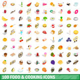 100 food and cooking icons set, isometric 3d style Stock Photo