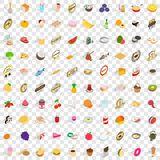 100 food and cooking icons set, isometric 3d style. 100 food and cooking icons set in isometric 3d style for any design vector illustration royalty free illustration
