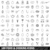 100 food and cooking icons set, outline style Stock Images