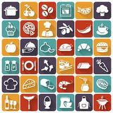 Food and cooking icons. Vector set. Food and cooking flat icons. Set of white symbols for a culinary theme. Healthy and junk food, fruit and vegetables, spices royalty free illustration