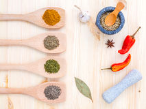 Food Cooking ingredients. Dried Spices herb bay leaves,turmeric, Stock Images