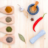 Food Cooking ingredients. Dried Spices herb bay leaves,turmeric, Stock Image