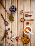 Food Cooking ingredients. Dried Spices herb cinnamon sticks,bay Stock Photography