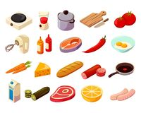 Food Cooking Isometric Icons. Food cooking set of isometric icons with kitchenware, culinary equipment, meat, fish and vegetables isolated vector illustration Stock Photo